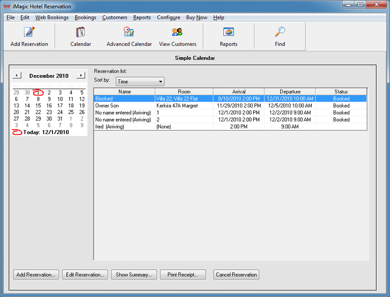 Hotel reservation software for bed and breakfasts / small hotels.